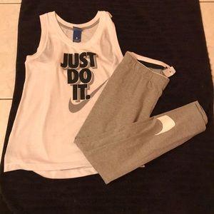 Nike outfit gray leggings & tank top M